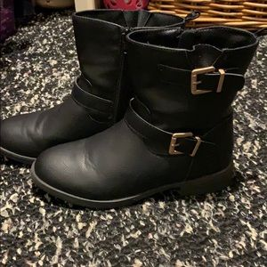 Other - Blk Leather boots with Mat gold hardware